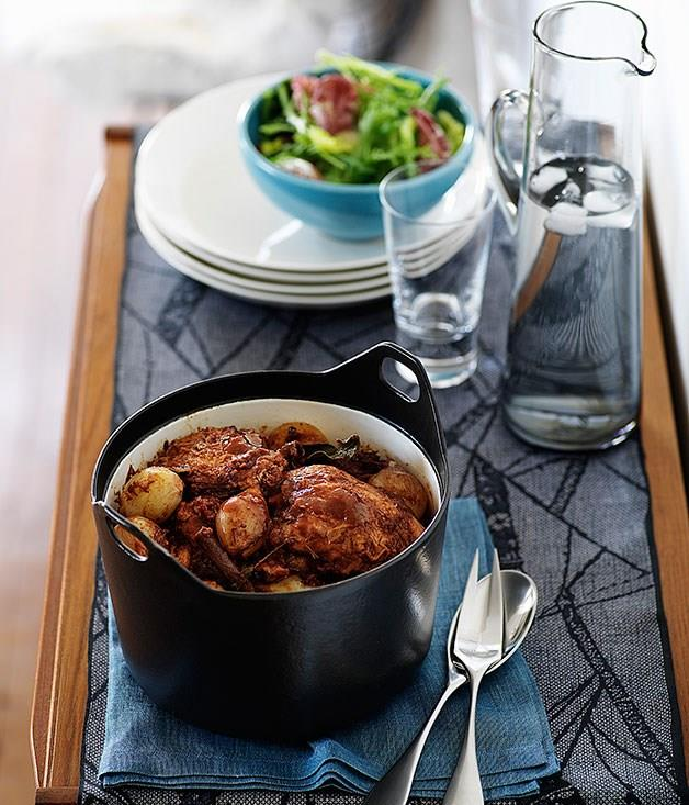 """[**Chicken Kokkinisto with baby onions**](https://www.gourmettraveller.com.au/recipes/browse-all/chicken-kokkinisto-with-baby-onions-9691