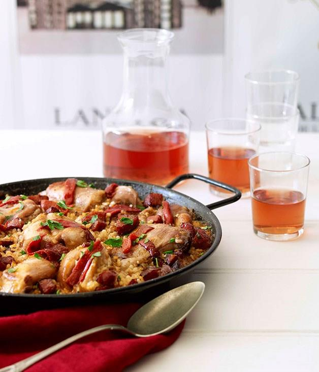 """[**Rabbit paella with rosado**](https://www.gourmettraveller.com.au/recipes/browse-all/rabbit-paella-with-rosado-14264