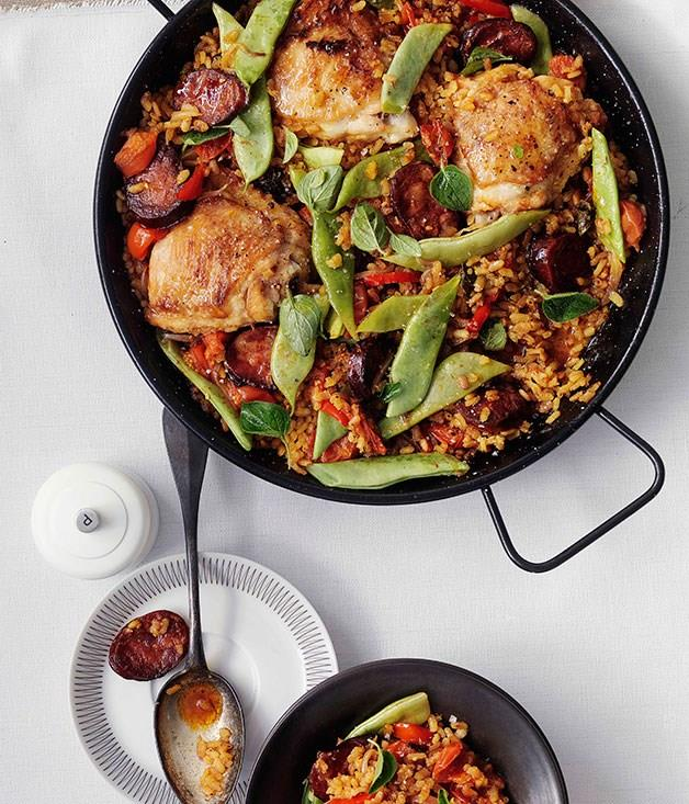 """[**Rice with chorizo and chicken**](https://www.gourmettraveller.com.au/recipes/browse-all/rice-with-chorizo-and-chicken-10396