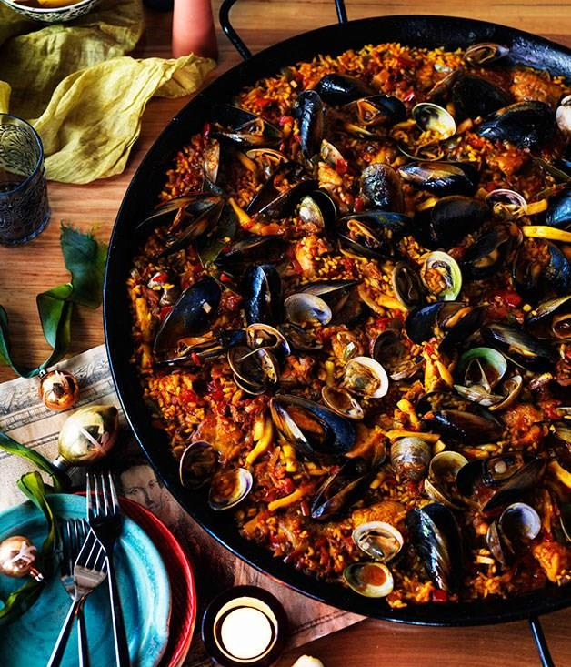 """[**Party paella**](https://www.gourmettraveller.com.au/recipes/browse-all/party-paella-11185