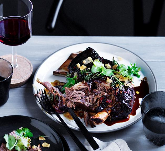 Slow roasted lamb shoulder with yellow bean, cumin and chilli
