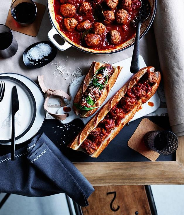 """[**Baked pork and veal meatball sub**](https://www.gourmettraveller.com.au/recipes/browse-all/baked-pork-and-veal-meatball-sub-12233