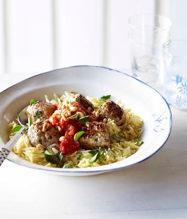 """[**Orzo with pork meatballs**](https://www.gourmettraveller.com.au/recipes/fast-recipes/orzo-with-pork-meatballs-13213