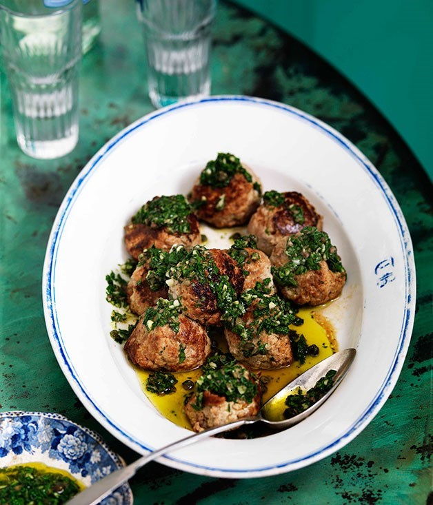 "[**Veal and ricotta meatballs with salsa verde**](https://www.gourmettraveller.com.au/recipes/browse-all/veal-and-ricotta-meatballs-with-salsa-verde-10816|target=""_blank"")"