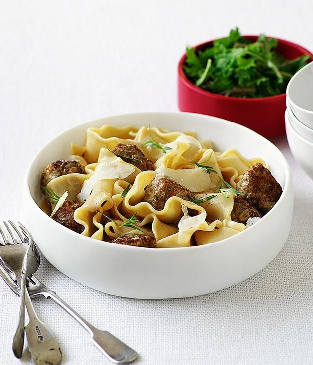 """[**Duck meatballs with lasagnette**](https://www.gourmettraveller.com.au/recipes/browse-all/duck-meatballs-with-lasagnette-9626