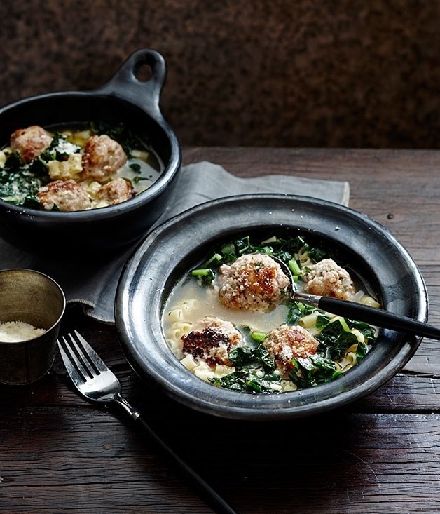 "[**Veal and parmesan meatballs in broth with ditalini**](https://www.gourmettraveller.com.au/recipes/fast-recipes/veal-and-parmesan-meatballs-in-broth-with-ditalini-13493|target=""_blank"")"