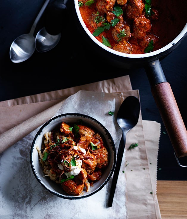 "[**Paprika beef meatballs with sour cream and crisp onion**](https://www.gourmettraveller.com.au/recipes/browse-all/paprika-beef-meatballs-with-sour-cream-and-crisp-onion-12229|target=""_blank"")"