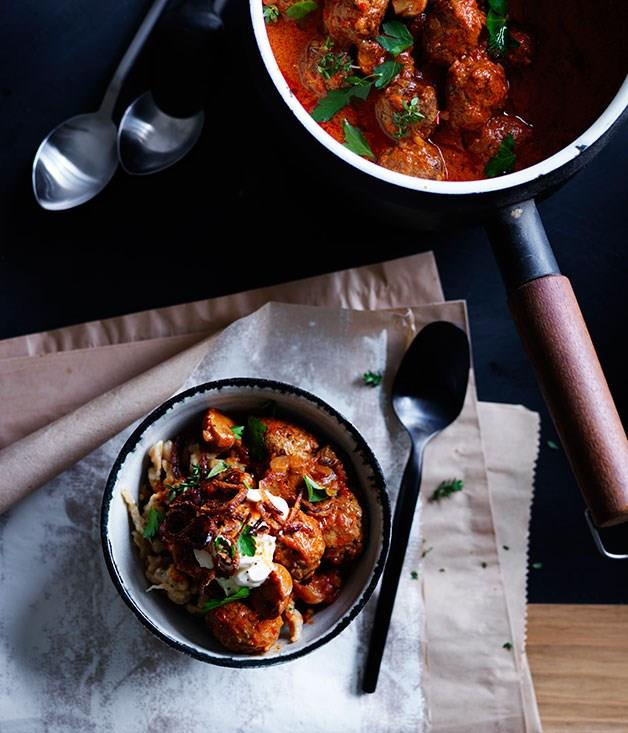 """[**Paprika beef meatballs with sour cream and crisp onion**](https://www.gourmettraveller.com.au/recipes/browse-all/paprika-beef-meatballs-with-sour-cream-and-crisp-onion-12229