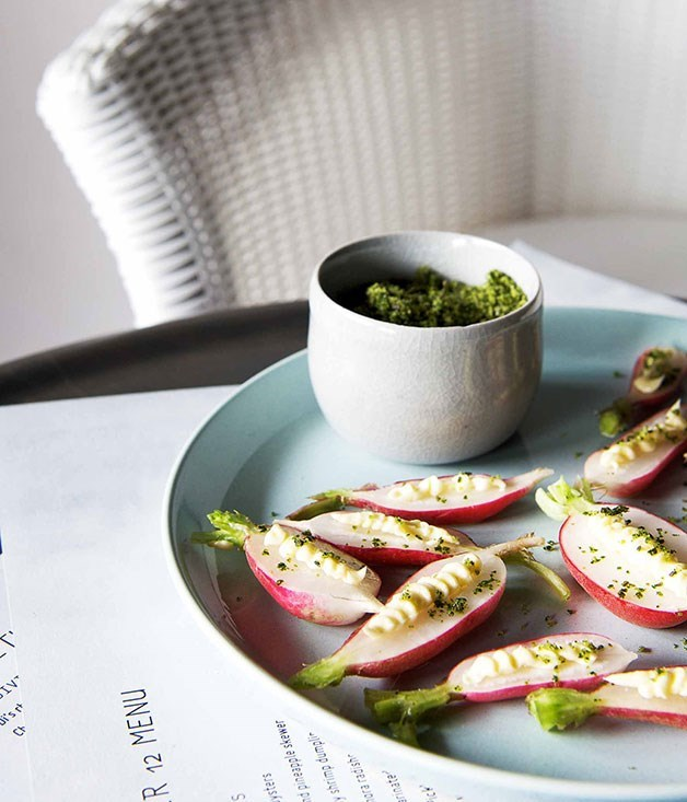 **French breakfast radishes, butter and herb salt**