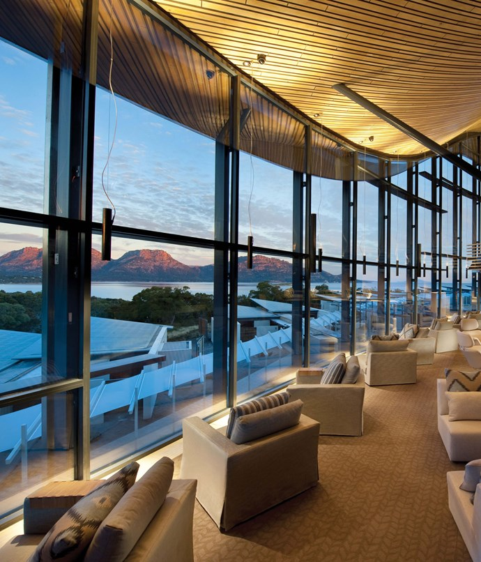 **Saffire, TAS** The architecture of the Saffire hotel takes inspiration from its surroundings. There's timber, pink blushes and sapphire that reflect the stunning views across Coles Bay to the pink granite peaks of the Hazards. If you decide to skip the local wine tours and cooking demonstrations, the spa has you covered. Pick from one of their many treatments and take a long, therapeutic soak in the giant marble tub.  _Saffire, 2352 Coles Bay Rd, Coles Bay, TAS, saffire-freycinet.com.au_