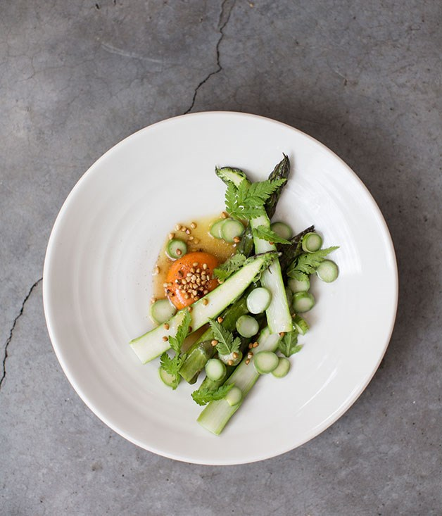 **Lyle's, Hackney** Asparagus, chicken vinaigrette, buckwheat and Burford Brown egg at Lyle's.  _Open March to November, 36 De Beauvoir Cres, Hackney, +44 207 254 7606 _