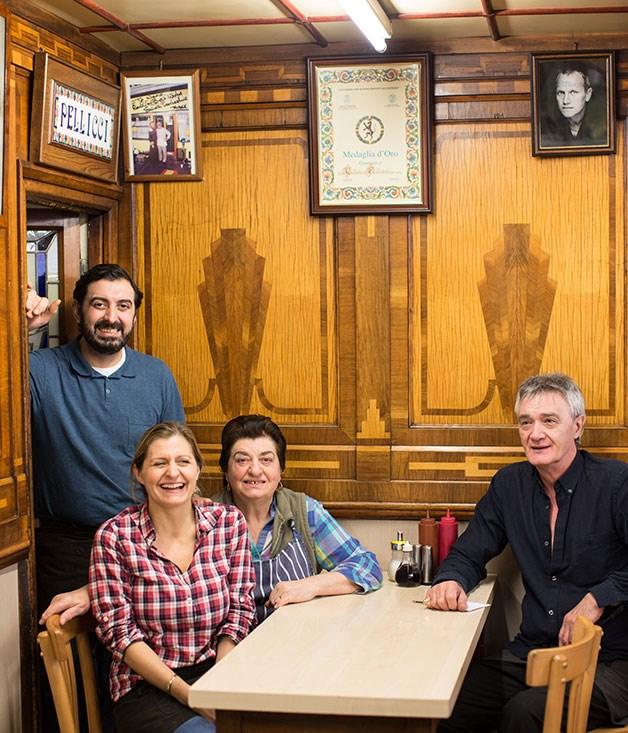**E Pellicci, Bethnal Green** Nevio, Anna and Maria Pellicci, and cousin Tony at E Pellicci.  _332 Bethnal Green Rd, Bethnal Green, +44 207 739 4873_