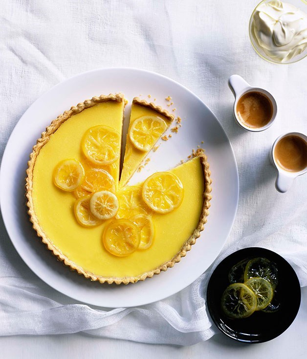 **Lemon cream tart with candied lemons**