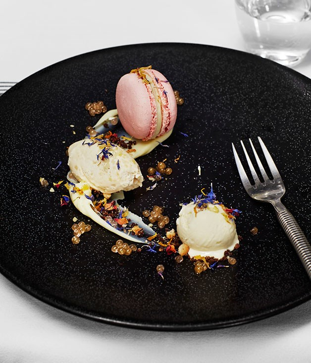 **Restaurant** Rose and white chocoolate macaron with caramelised white chocolate mousse and cotton-candy ice-cream at the Grande Provence Restaurant.