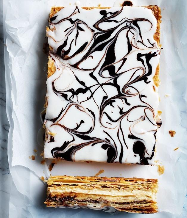 "[**Hazelnut custard slice**](https://www.gourmettraveller.com.au/recipes/browse-all/hazelnut-custard-slice-12251|target=""_blank"")"