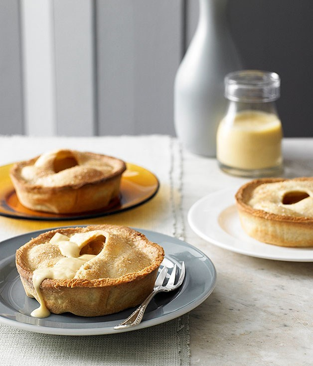 "[**Pear and custard pies**](https://www.gourmettraveller.com.au/recipes/browse-all/pear-and-custard-pies-9680|target=""_blank"")"