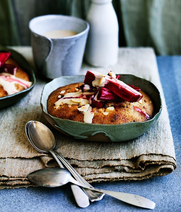 **Rhubarb-hazelnut puddings with brown sugar-brandy custard**