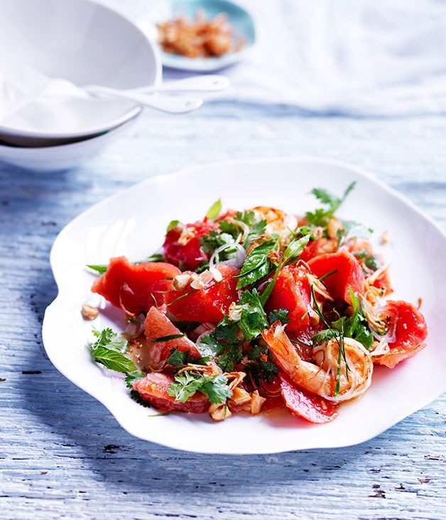 **Sweet and sour watermelon salad with pink grapefruit and prawns**