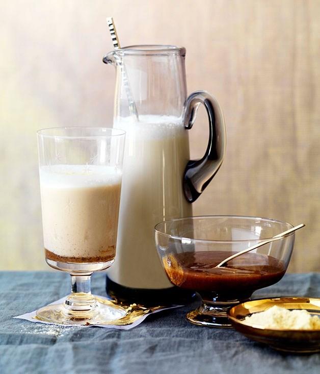 **Hot malted milk with cinnamon dulce de leche**