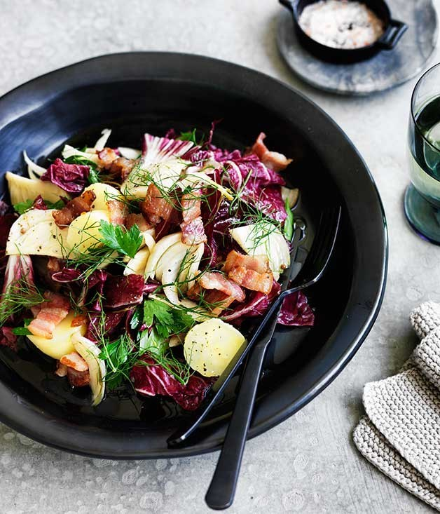**Potato, bacon and pickled fennel salad**