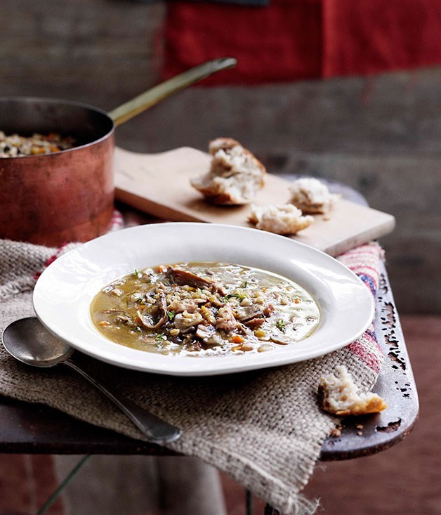 **Mushroom and barley broth with smoked bacon**