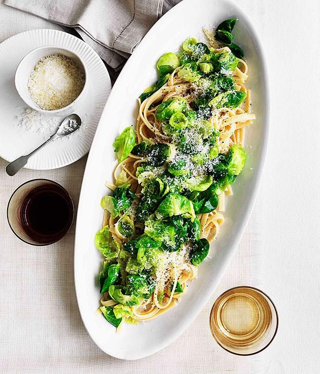"[**Fettuccine with Brussels sprouts, pecorino and garlic**](https://www.gourmettraveller.com.au/recipes/fast-recipes/fettuccine-with-brussels-sprouts-pecorino-and-garlic-13156|target=""_blank""