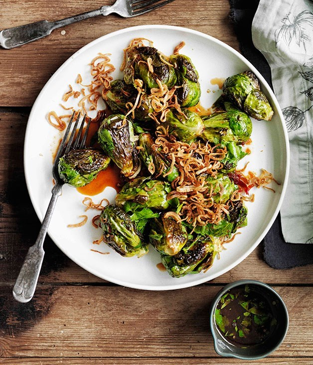 **Roasted Brussels sprouts with crisp shallots and sweet, sour and salty dressing**