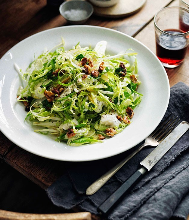 **Shaved Brussels sprouts, walnuts and gorgonzola cremificato salad**