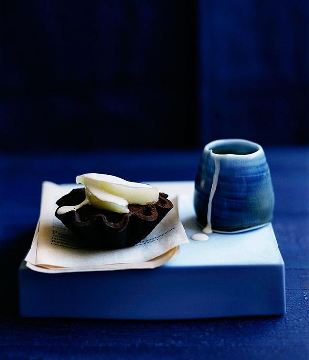 "[**Pear and chocolate fudge tartlets**](https://www.gourmettraveller.com.au/recipes/browse-all/pear-and-chocolate-fudge-tartlets-10179|target=""_blank"")"