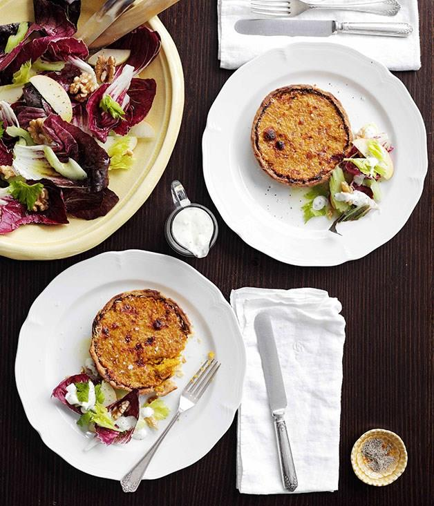 "[**Pumpkin tortino with apple, celery and walnut salad and Gorgonzola dressing**](https://www.gourmettraveller.com.au/recipes/chefs-recipes/pumpkin-tortino-with-apple-celery-and-walnut-salad-and-gorgonzola-dressing-8991|target=""_blank"")"