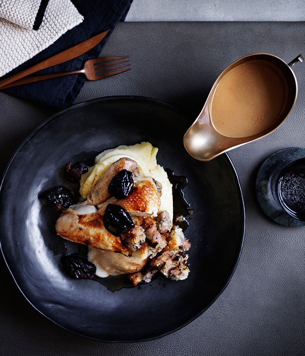 **Roast chicken with sausage stuffing, prunes and pan gravy**