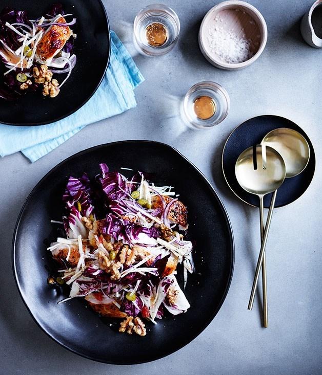 **Roast chicken salad with celeriac, radicchio and pink grapefruit**