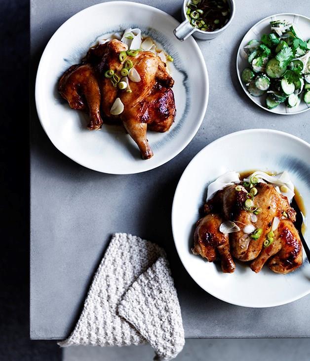 "**[Roast spatchcock with choganjang and sesame cucumbers](https://www.gourmettraveller.com.au/recipes/browse-all/roast-spatchcock-with-choganjang-and-sesame-cucumbers-12512|target=""_blank"")**"