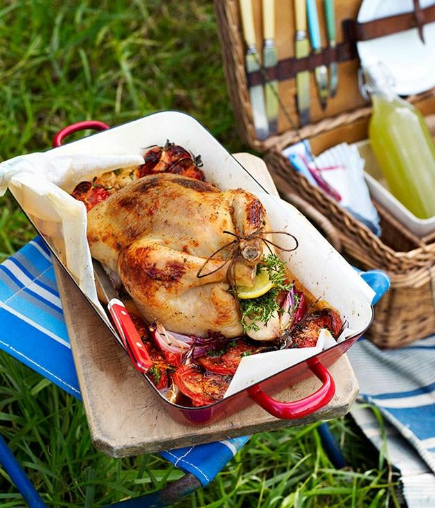 """**[Tomato and thyme roast chicken](https://www.gourmettraveller.com.au/recipes/browse-all/tomato-and-thyme-roast-chicken-10660