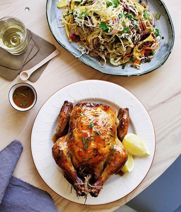 "**[Citrus-brined roast chicken](https://www.gourmettraveller.com.au/recipes/browse-all/citrus-brined-roast-chicken-11702|target=""_blank"")**"