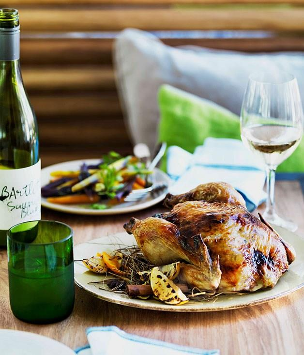 """**[Chicken roasted in spiced hay with lemon stuffing](https://www.gourmettraveller.com.au/recipes/browse-all/chicken-roasted-in-spiced-hay-with-lemon-stuffing-11425