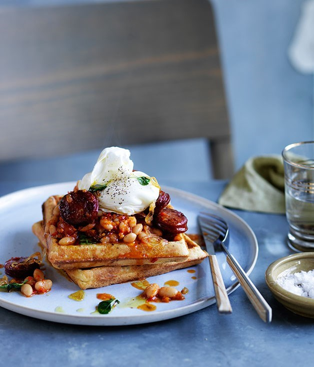 **Wholemeal waffles with baked beans, chorizo and egg**