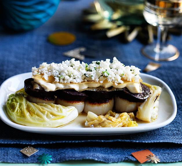 Bodega's morcilla and scallops with braised cabbage, tahini sandwich and pickled cauliflower