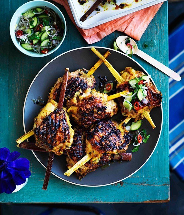 **Turmeric and lemongrass chicken on sugarcane**