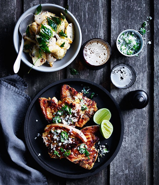**Turmeric pork chops with green chilli and coconut sambal**