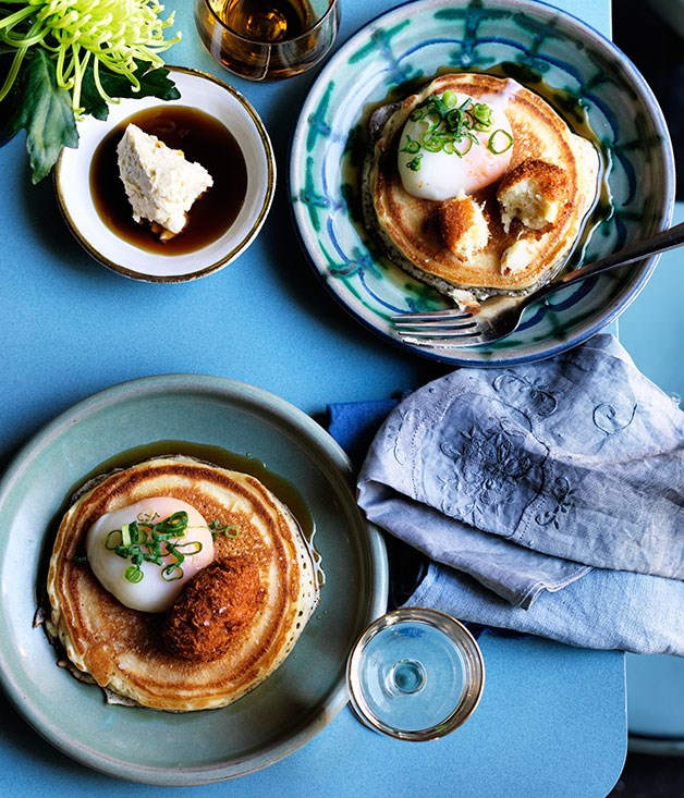 Bodega's buttermilk pancakes with bacalao, egg and smoked maple butter