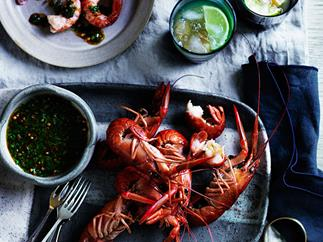 Poached yabbies, sugarcane and coriander vinegar