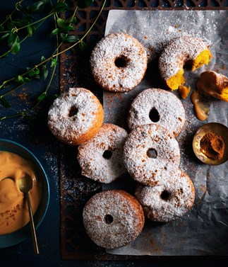 Spiced pumpkin fritters with dulce de leche cream