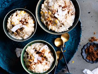 Rice pudding with brown sugar and coconut