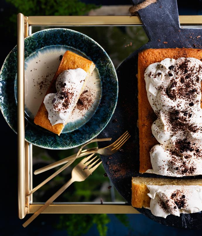 "**[Tres leches cake with bitter chocolate](https://www.gourmettraveller.com.au/recipes/browse-all/tres-leches-cake-with-bitter-chocolate-12542|target=""_blank""