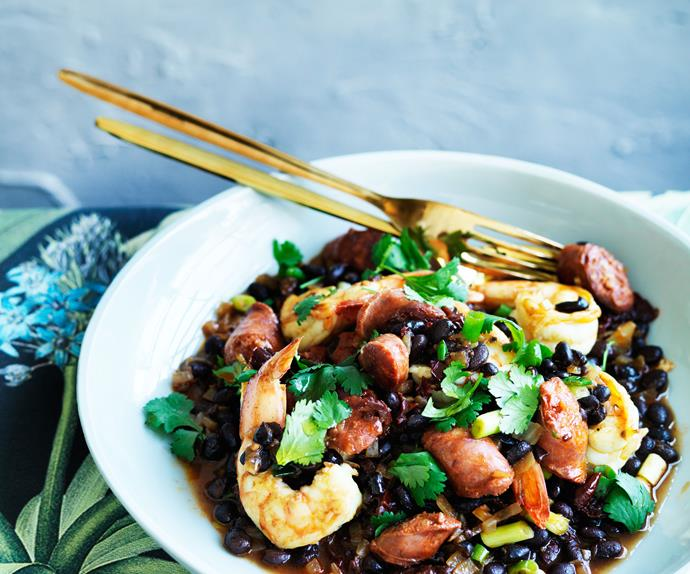 Prawns with black beans, chorizo and chipotle