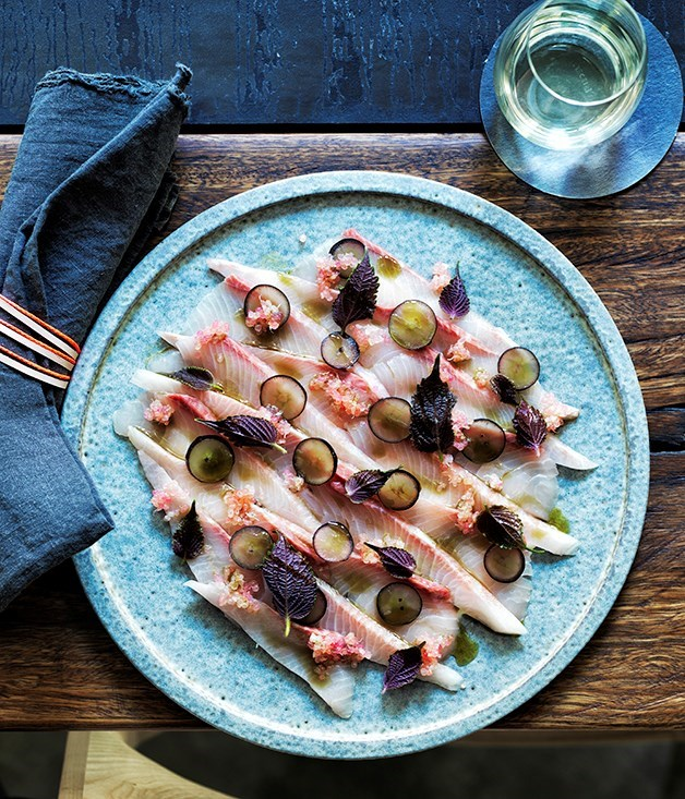 "['](https://www.gourmettraveller.com.au/recipes/chefs-recipes/kingfish-with-creme-fraiche-yuzukosho-shiso-and-finger-lime-8429|target=""_blank"")"