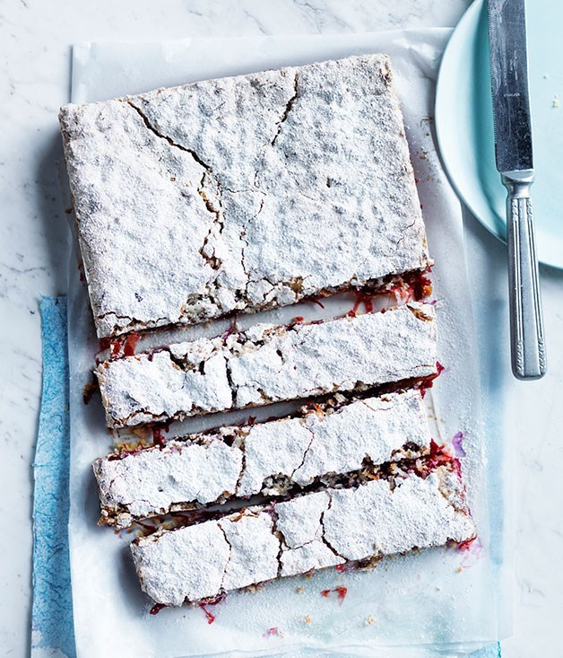 **Rhubarb, lime and coconut slice**