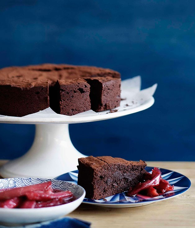 **Crowd-pleasing chocolate cake with roast rhubarb**