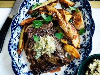 Skirt steak with pepita-lime butter and roasted potatoes